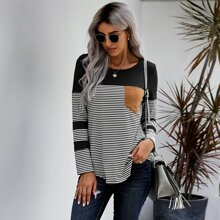 Pocket Patched Stripe Tee