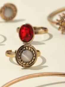 8pcs Gemstone Decor Jewelry Set