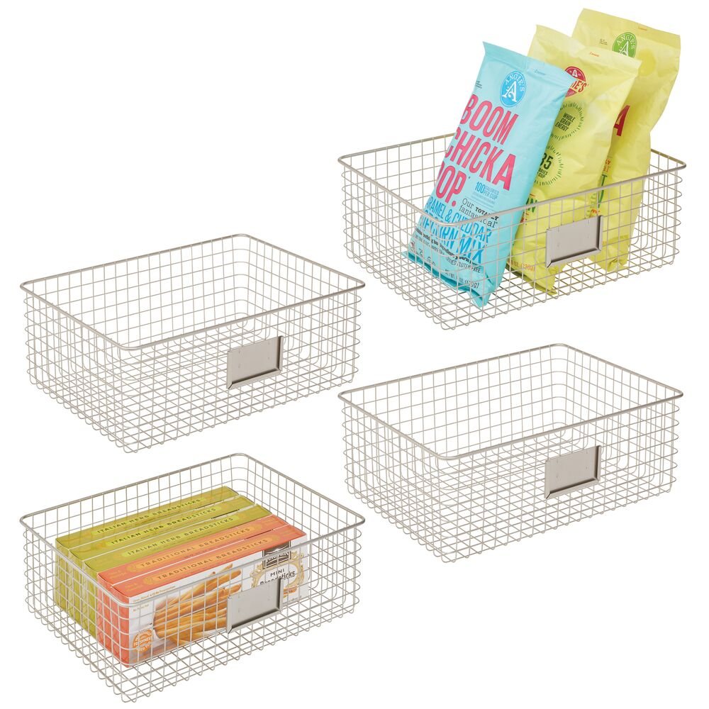 mDesign Metal Wire Pantry Storage Bin with Label Plate in Satin, 16 x 12 x 6, Set of 4