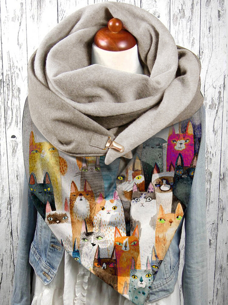 Women Colorful Cartoon Cute Cats Pattern Soft Personality Neck Protection Keep Warm Scarf