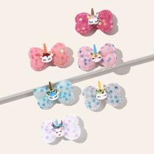 6 piezas horquilla de niñas con lazo