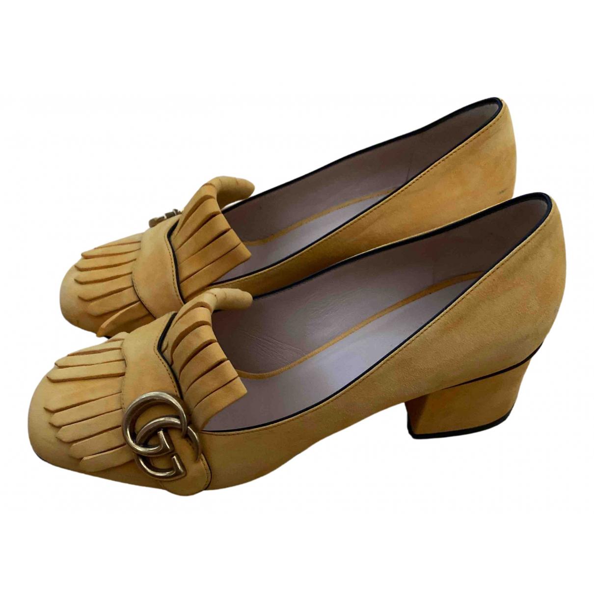 Gucci Marmont Yellow Suede Heels for Women 37.5 EU