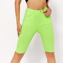 BLUES Neon Lime Skinny Denim Shorts