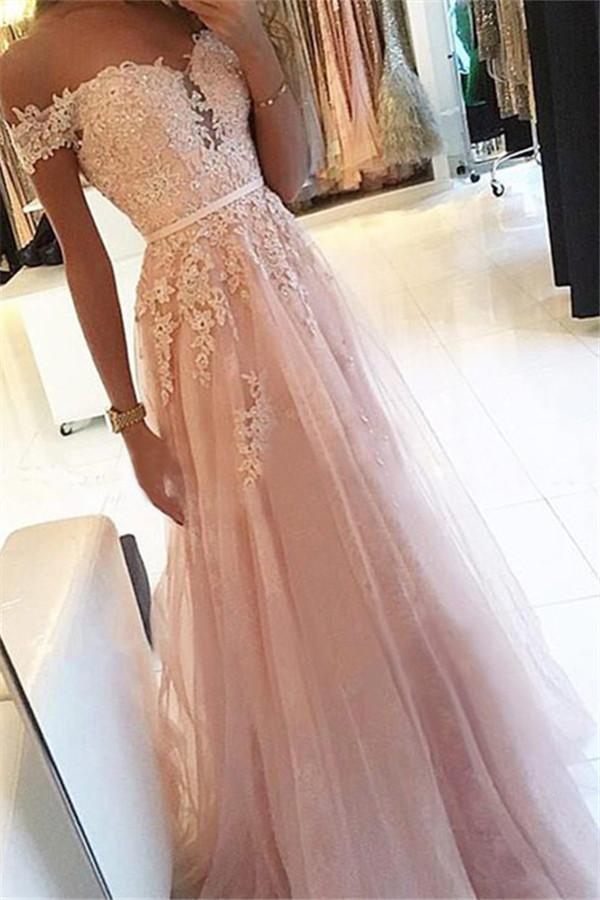 Simple Pink Off-the-Shoulder Applique Prom Dresses | Soft Tulle Sleeveless Sexy Evening Dresses