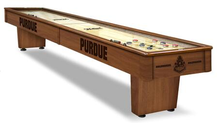 SB12Purdue Purdue 12' Shuffleboard Table with Solid Hardwood Cabinet  Laser Engraved Graphics  Hidden Storage Drawer and Pucks  Table Brush and Wax