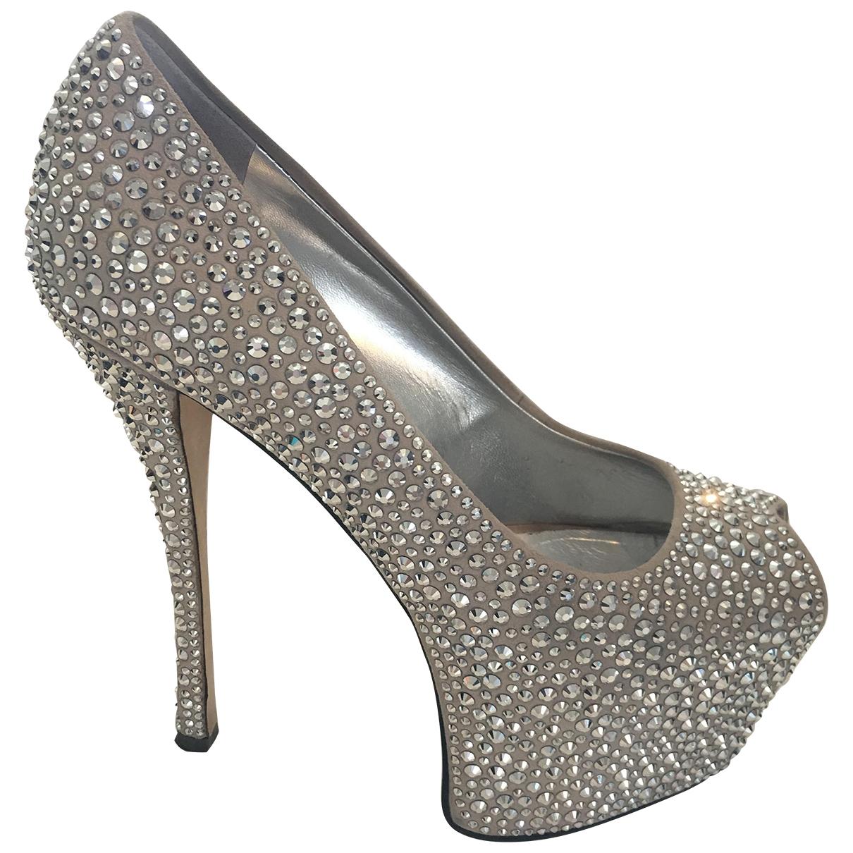 Giuseppe Zanotti \N Silver Suede Heels for Women 38 EU