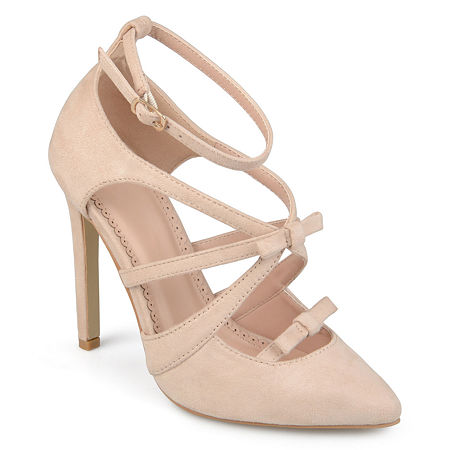 Journee Collection Womens Darion Pumps Stiletto Heel, 8 1/2 Medium, Beige