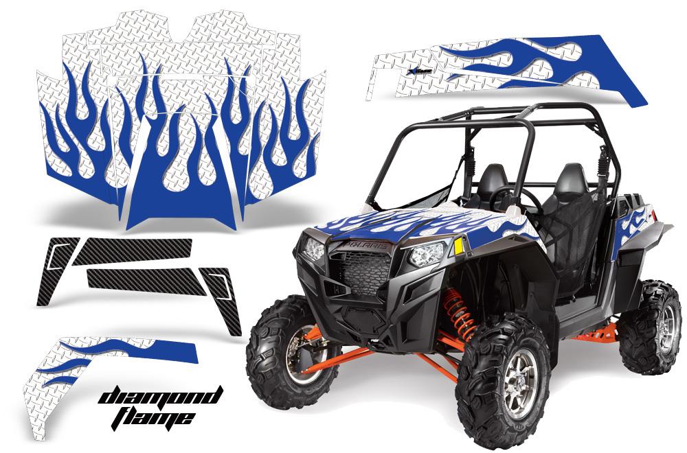 AMR Racing  Full Custom UTV Graphics Decal Kit Wrap Diamond Flame Blue Polaris RZR XP 900 11-14