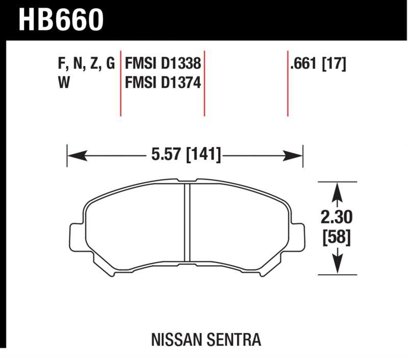 Hawk Performance HB660N.661 Disc Brake Pad Front
