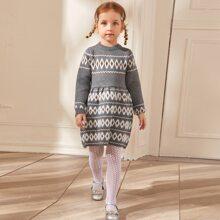 Vestidos jersey de niñita Canale A rayas Casual