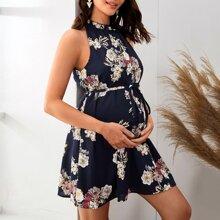 Maternidad vestido floral con cinturon de cuello halter con fruncido