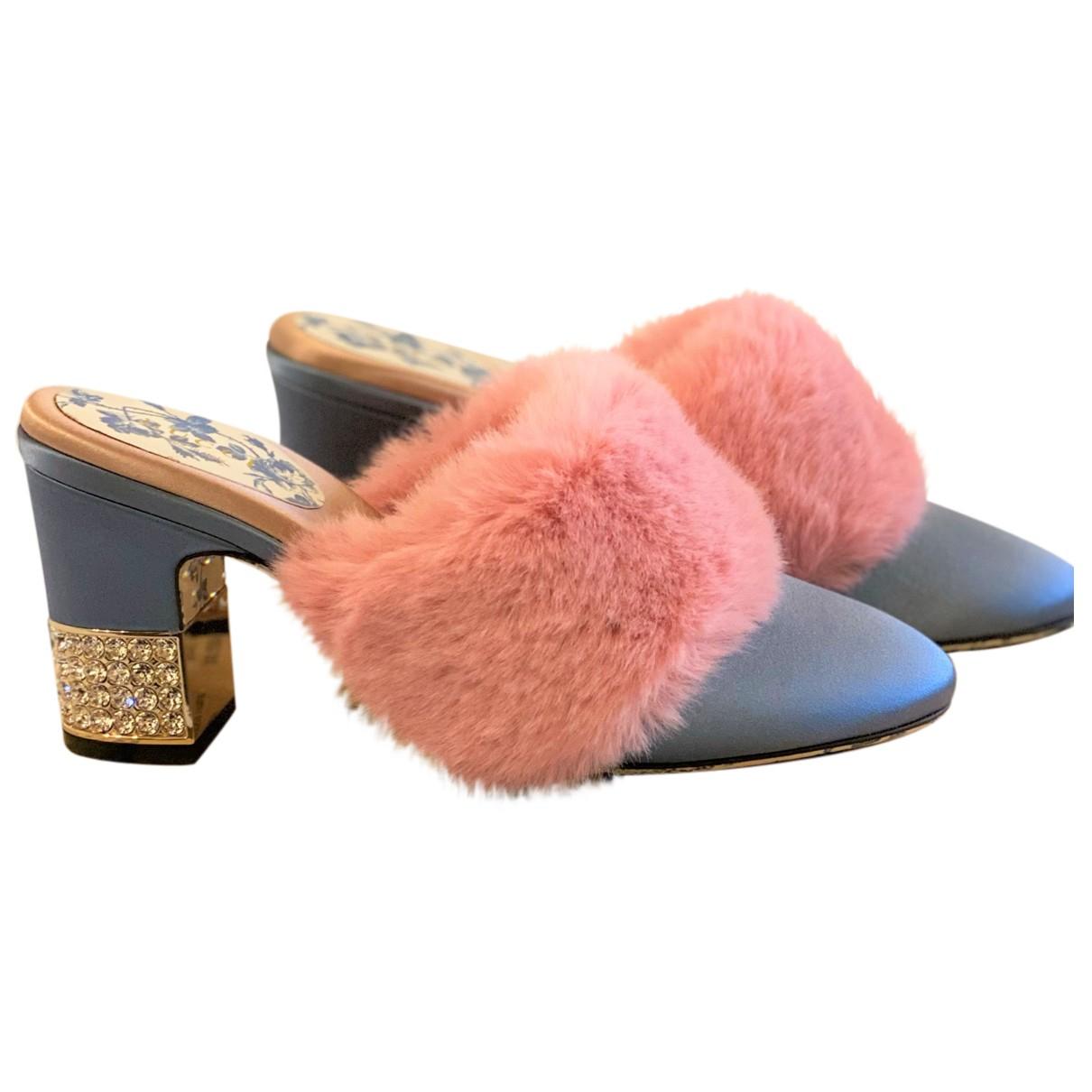 Gucci N Blue Faux fur Mules & Clogs for Women 39 IT