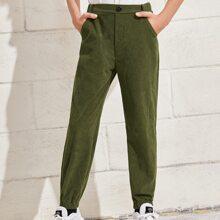 Pantalones con bolsillo oblicuo con boton