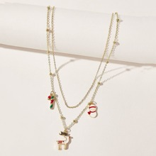 Christmas Snowman & Deer Layered Necklace