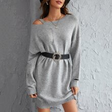 Ripped Cut Out Sweater Dress Without Belt