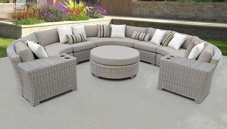 Coast Collection COAST-08b 8-Piece Patio Set 08b with 2 Armless Chair   2 Cup Table   1 Round Coffee Table   3 Curved Armless Chair - 1 Set of Beige