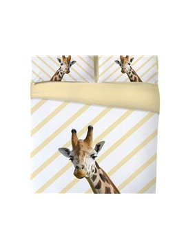 Vivilinen 3D Giraffe Printed 4-Piece Goose Yellow Bedding Sets/Duvet Covers