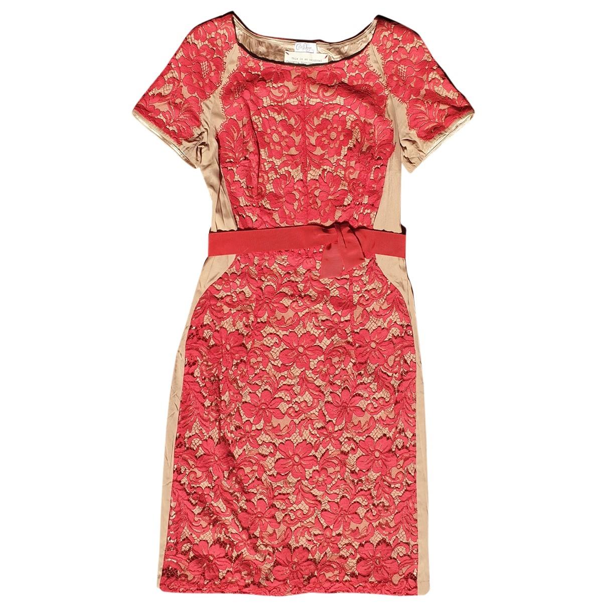 Collette Dinnigan - Robe   pour femme en dentelle - rouge