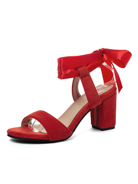 Milanoo Mid Heel Sandals Womens Bow Open Toe Slingback Chunky Heel Sandals