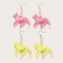 2pairs Girls Pony Design Drop Earrings