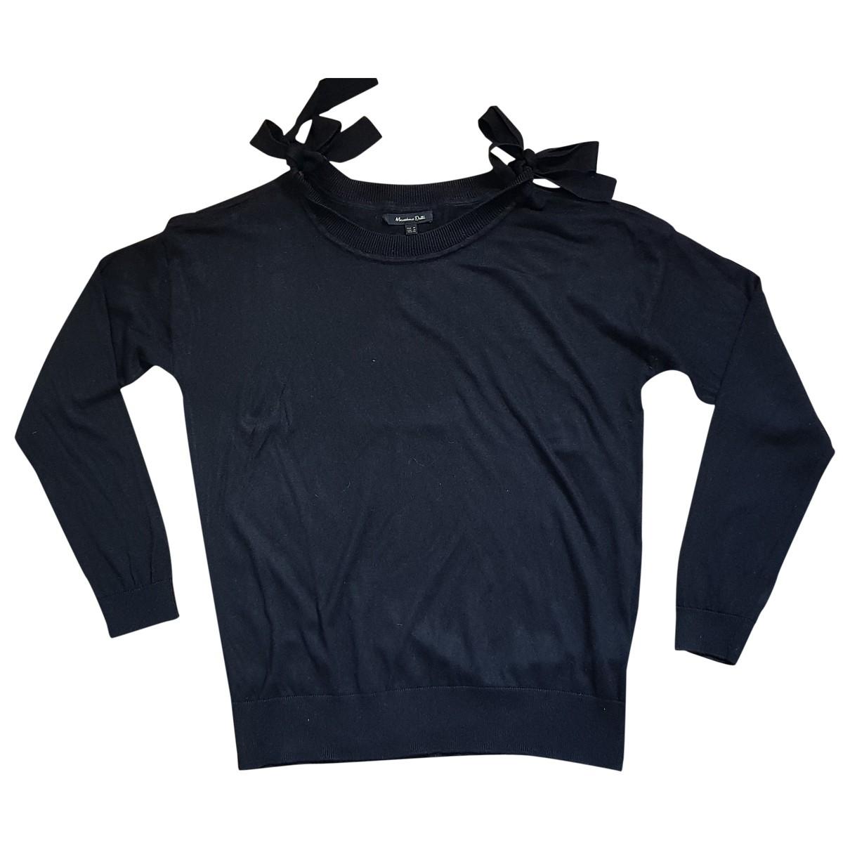 Massimo Dutti - Pull   pour femme en soie - noir