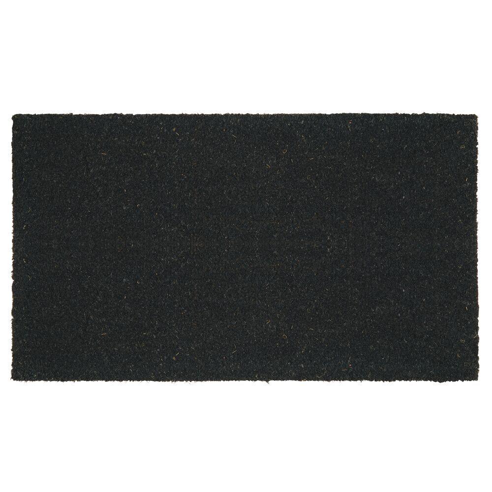 Coir and Rubber Rectangular Entryway Doormat,  in Black, 17