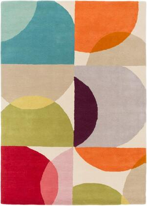 SCI28-23 2' x 3' Rug  in Burnt Orange and Dark Red and Lime and Dark Purple and Teal and Dark Coral and Peach and Camel and Burgundy and Bright