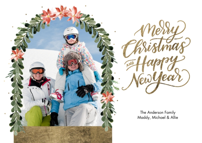 Christmas Photo Cards 5x7 Cards, Premium Cardstock 120lb, Card & Stationery -Christmas Happy New Year Gold by Tumbalina