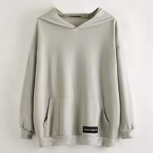 Letter Patch Kangaroo Pocket Longline Sweatshirt
