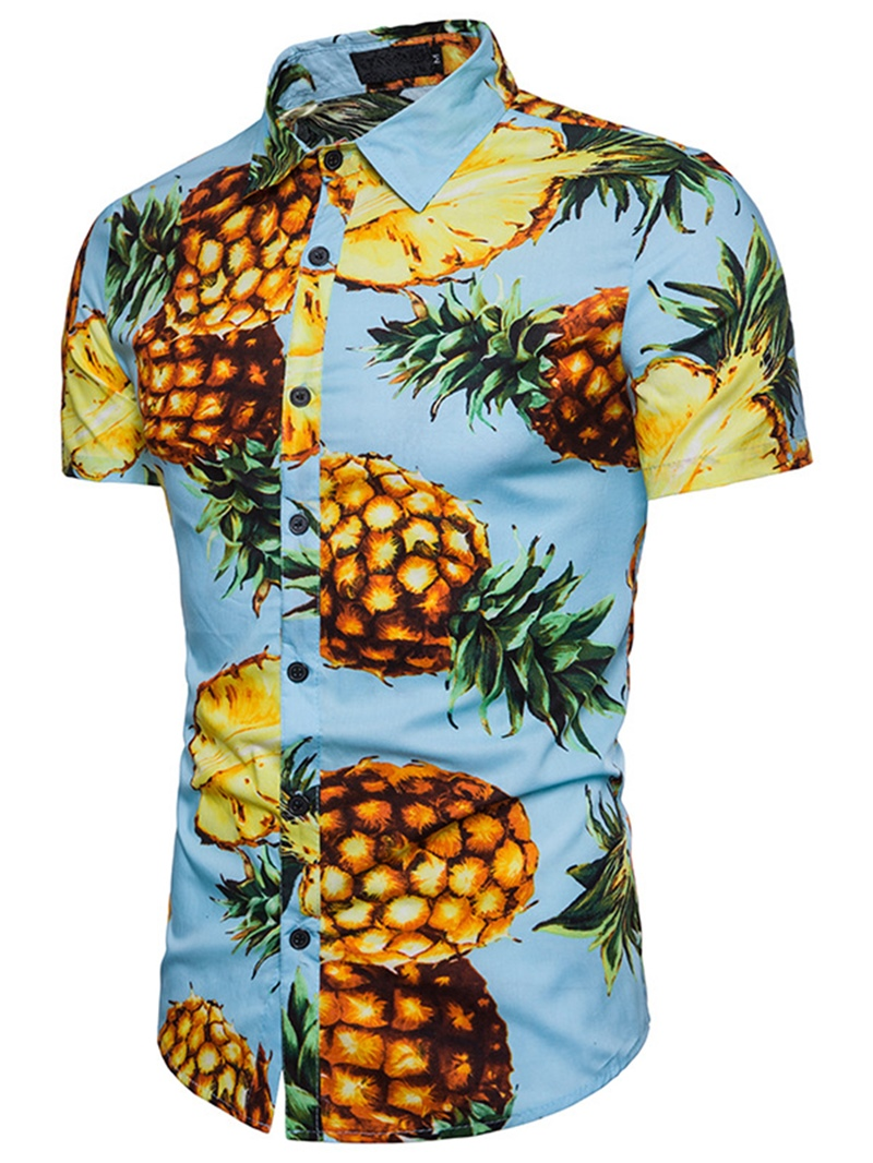 Ericdress Lapel Pineapple Print Short Sleeve Men's Shirt
