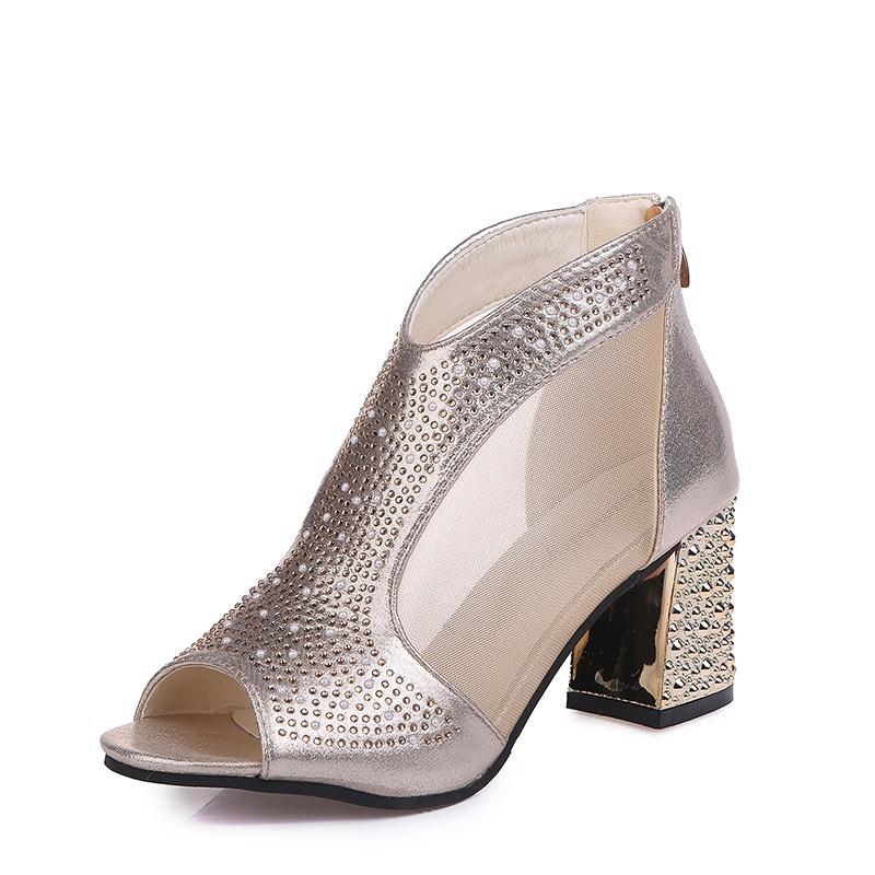 Ericdress Clear Rhinestone Patchwork Plain Chunky Heel Shoes