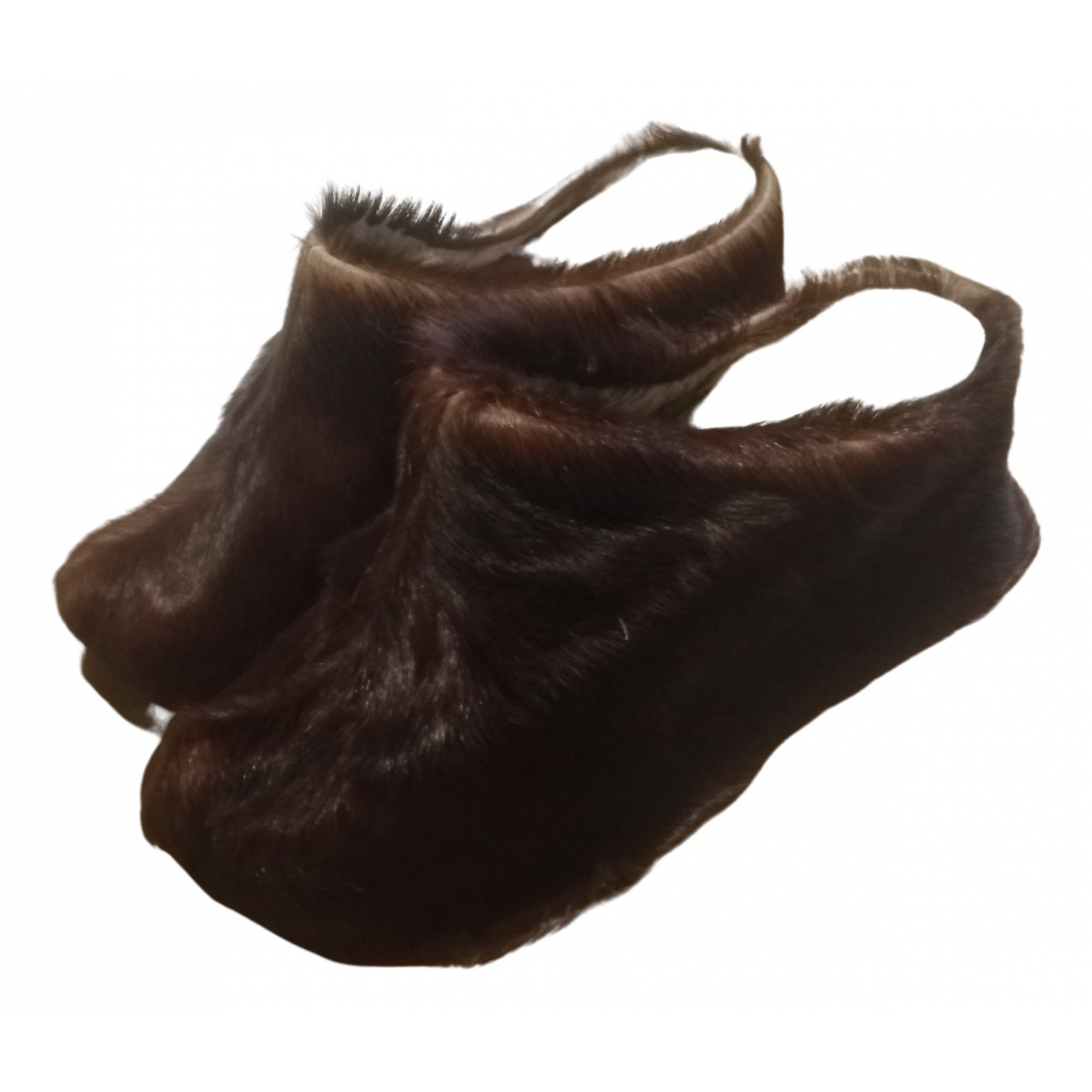 Non Signé / Unsigned N Brown Fur Mules & Clogs for Women 38 IT