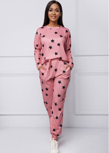 Womens Loungewear and Pajamas Drawstring Waist Star Print Pocket Loungewear Set - L