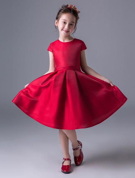 Milanoo Flower Girl Dresses Burgundy Satin Short Pageant Dress Little Girls A Line Knee Length Kids Formal Party Dress