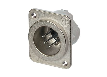 Neutrik 5 Way Chassis Mount XLR Connector, Male, Silver over Nickel, <50 V