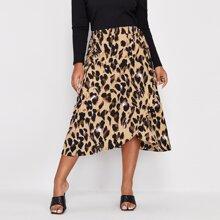 Plus Allover Print Tie Side Wrap Skirt