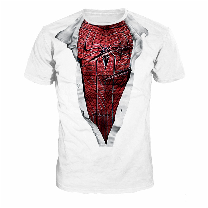 Spiderman Style Pattern Couple Round Neck 3D Painted T-Shirt
