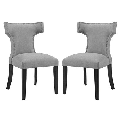 Curve Collection EEI-2741-LGR-SET Side of 2 Dining Side Chairs with Nailhead Trim  Dense Foam Padding  Black Rubberwood Tapered Legs  Solid Wood