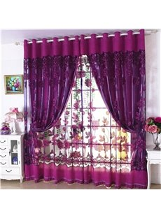 Decoration Polyester European Style Purple Peony Shading and Sheer Curtain Set