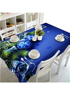 3D Blue Ball Printed Thick Polyester Oil-Proof and Durable Table Cloth Cover