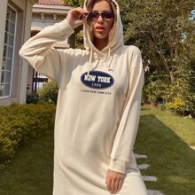 Slogan Graphic Drawstring Hooded Sweatshirt Dress