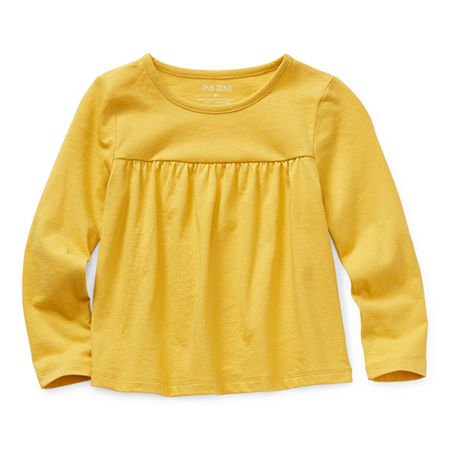 Okie Dokie Toddler Girls Round Neck Long Sleeve T-Shirt, 3t , Yellow