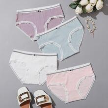 4pack Rib Lace Trim Panty Set
