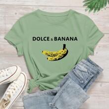 T-Shirt mit Banane und Buchstaben Grafik