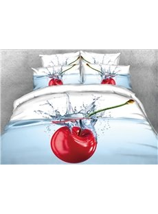 Cherry in the Water Printed 4-Piece 3D Bedding Sets/Duvet Covers