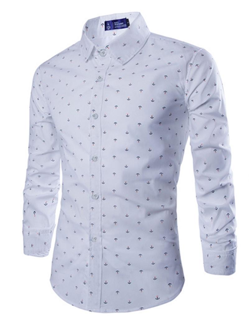 Ericdress Lapel Plain Polka Dots Single-Breasted Men's Dress Shirt
