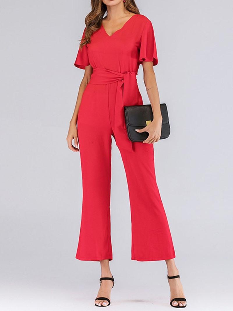 Ericdress Belt Dressy Plain Slim Jumpsuit