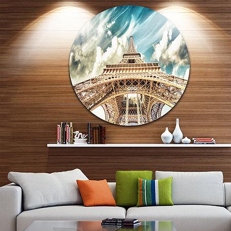 Design Art Paris Eiffel Tower Under Blue Sky DiscPhotography Circle Metal Wall Art, One Size , Blue