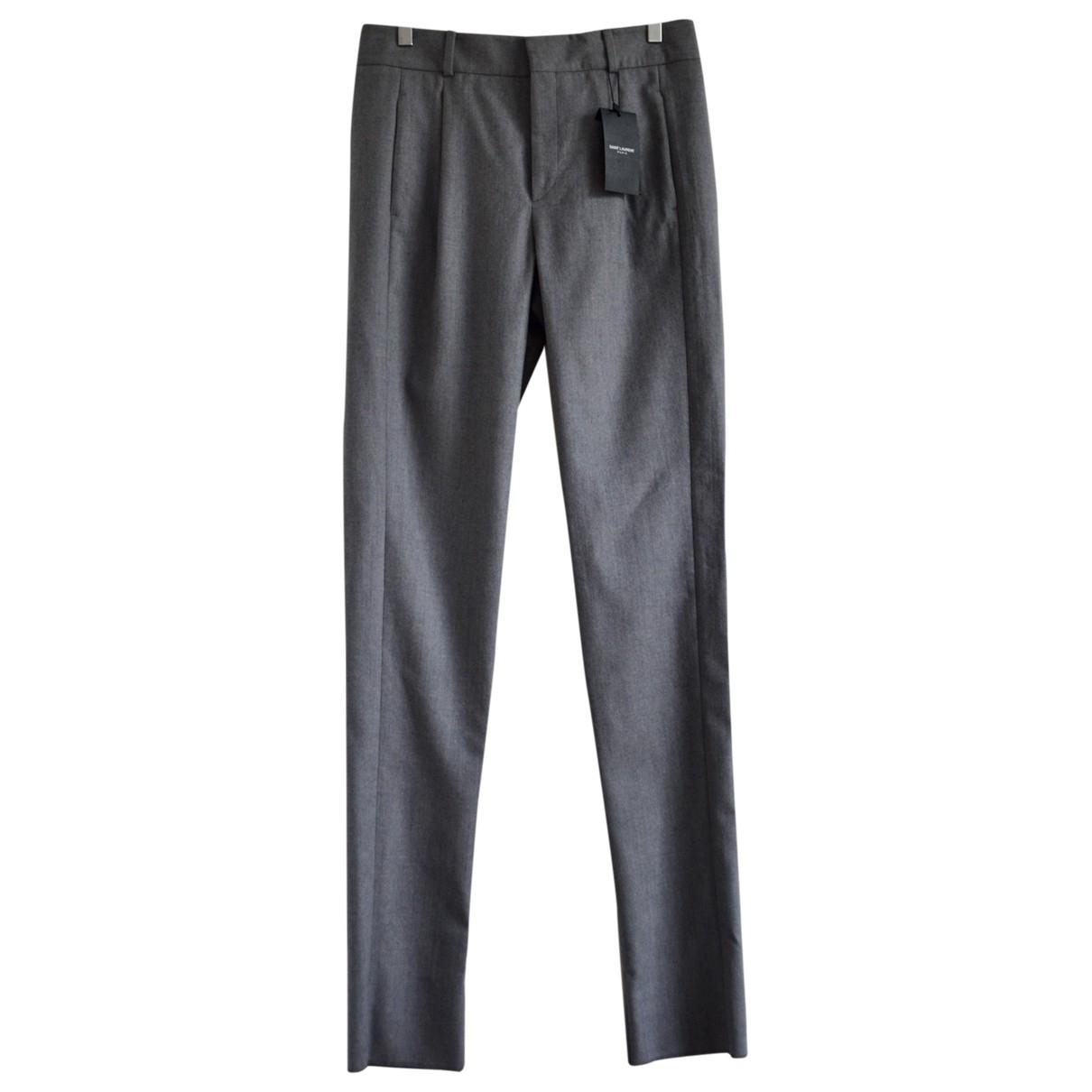 Saint Laurent \N Grey Wool Trousers for Women 38 FR