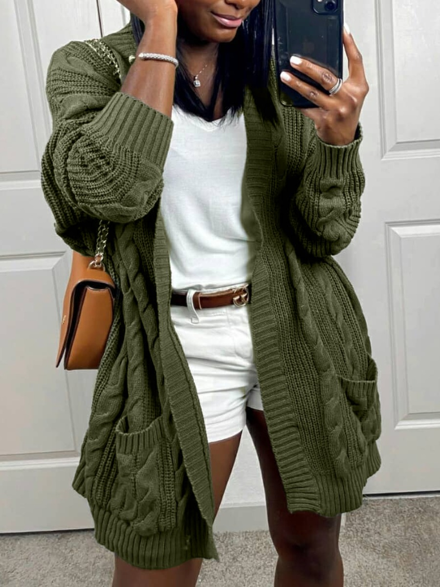 LW lovely Casual Loose Green Cardigan